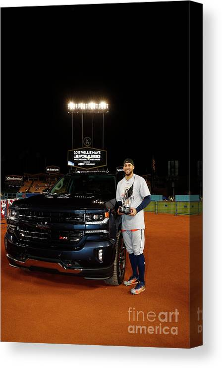 Playoffs Canvas Print featuring the photograph George Springer by Rob Tringali