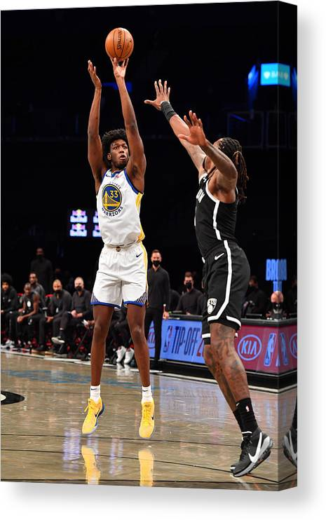 Nba Pro Basketball Canvas Print featuring the photograph Golden State Warriors v Brooklyn Nets by Jesse D. Garrabrant
