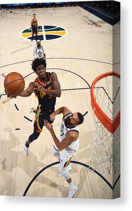 Nba Pro Basketball Canvas Print featuring the photograph Golden State Warriors v Utah Jazz by Garrett Ellwood