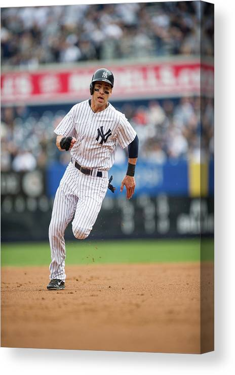 American League Baseball Canvas Print featuring the photograph Jacoby Ellsbury by Rob Tringali