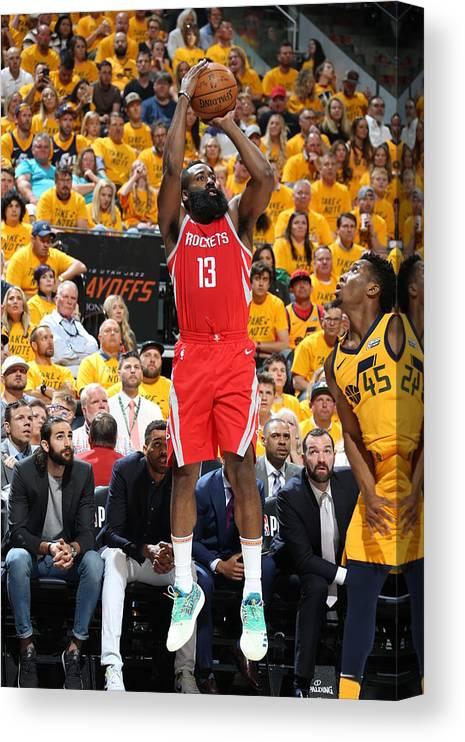 Playoffs Canvas Print featuring the photograph James Harden by Melissa Majchrzak