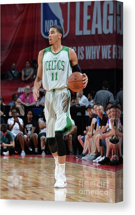 Nba Pro Basketball Canvas Print featuring the photograph Jayson Tatum by Bart Young