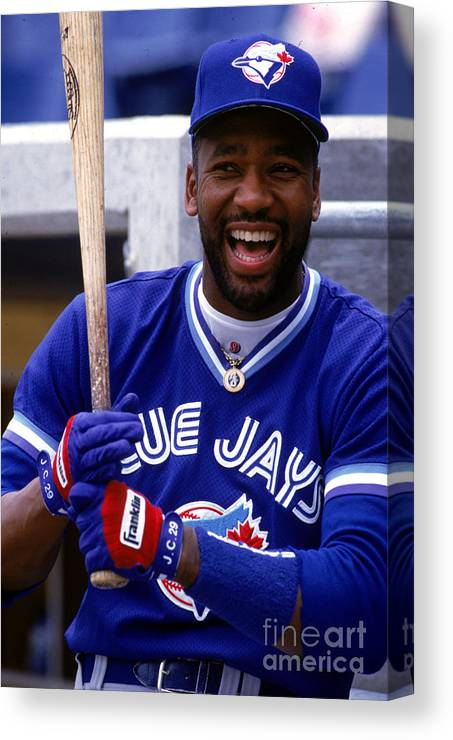 American League Baseball Canvas Print featuring the photograph Joe Carter by Ron Vesely