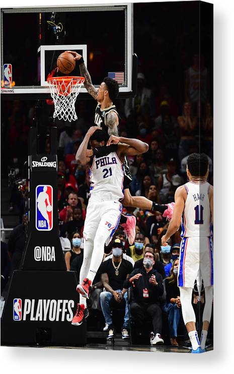 Atlanta Canvas Print featuring the photograph John Collins and Joel Embiid by Scott Cunningham
