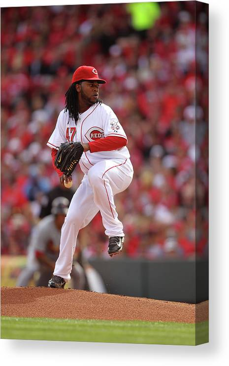 Great American Ball Park Canvas Print featuring the photograph Johnny Cueto by John Grieshop