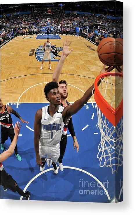 Nba Pro Basketball Canvas Print featuring the photograph Jonathan Isaac by Fernando Medina
