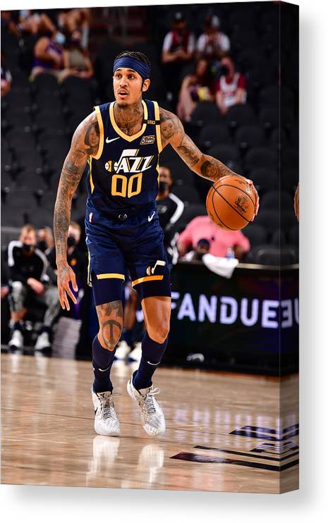 Nba Pro Basketball Canvas Print featuring the photograph Jordan Clarkson by Barry Gossage