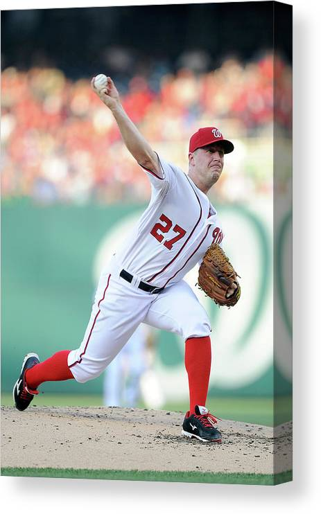 Second Inning Canvas Print featuring the photograph Jordan Zimmermann by Greg Fiume