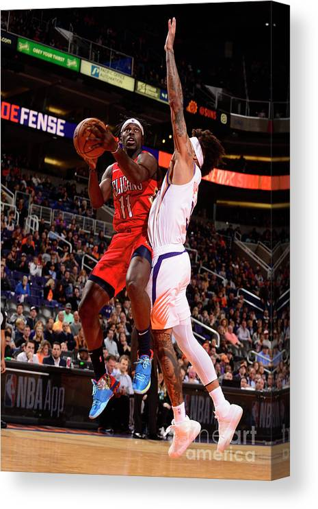Nba Pro Basketball Canvas Print featuring the photograph Jrue Holiday by Barry Gossage