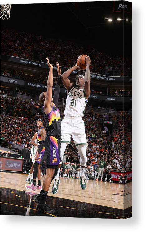 Playoffs Canvas Print featuring the photograph Jrue Holiday by Nathaniel S. Butler