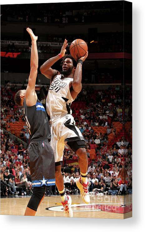 Justise Winslow Canvas Print featuring the photograph Justise Winslow by Oscar Baldizon