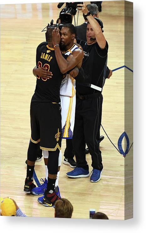 Playoffs Canvas Print featuring the photograph Kevin Durant and Lebron James by Garrett Ellwood
