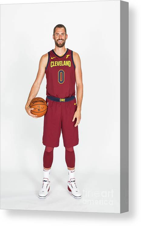 Media Day Canvas Print featuring the photograph Kevin Love by Michael J. Lebrecht Ii
