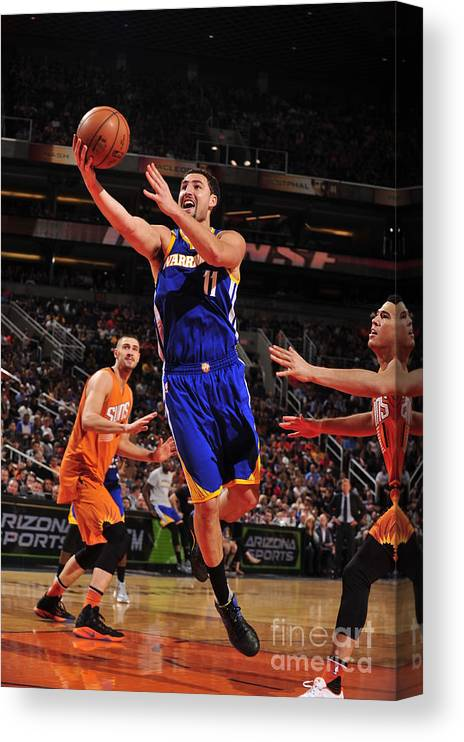 Nba Pro Basketball Canvas Print featuring the photograph Klay Thompson by Barry Gossage