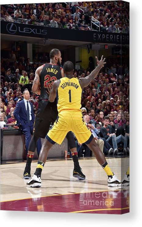 Playoffs Canvas Print featuring the photograph Lance Stephenson and Lebron James by David Liam Kyle