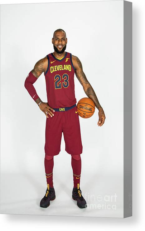 Media Day Canvas Print featuring the photograph Lebron James by Michael J. Lebrecht Ii