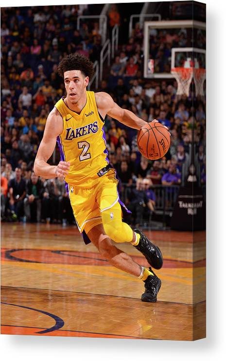 Nba Pro Basketball Canvas Print featuring the photograph Lonzo Ball by Barry Gossage