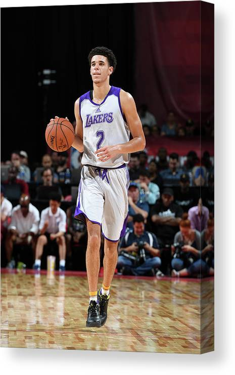 Nba Pro Basketball Canvas Print featuring the photograph Lonzo Ball by Garrett Ellwood