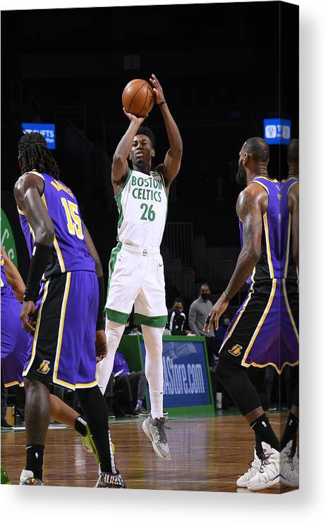 Nba Pro Basketball Canvas Print featuring the photograph Los Angeles Lakers v Boston Celtics by Brian Babineau