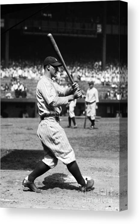 American League Baseball Canvas Print featuring the photograph Lou Gehrig by Kidwiler Collection