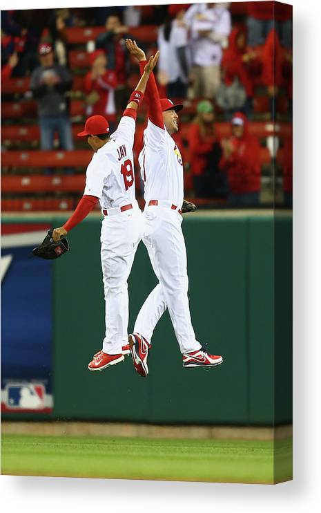 St. Louis Cardinals Canvas Print featuring the photograph Matt Holliday and Jon Jay by Dilip Vishwanat