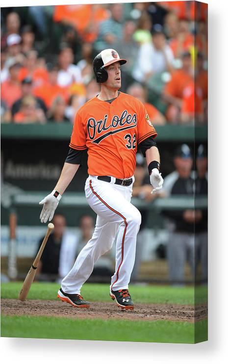 American League Baseball Canvas Print featuring the photograph Matt Wieters by Mitchell Layton