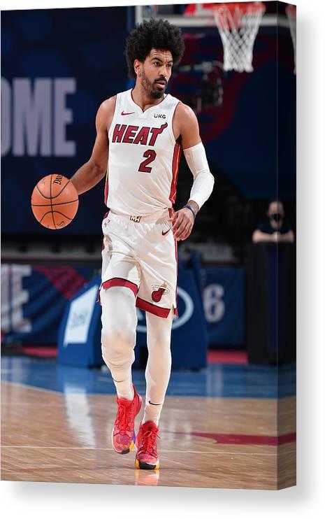 Nba Pro Basketball Canvas Print featuring the photograph Miami Heat v Philadelphia 76ers by David Dow
