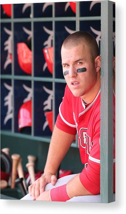 Ninth Inning Canvas Print featuring the photograph Mike Trout by Leon Halip