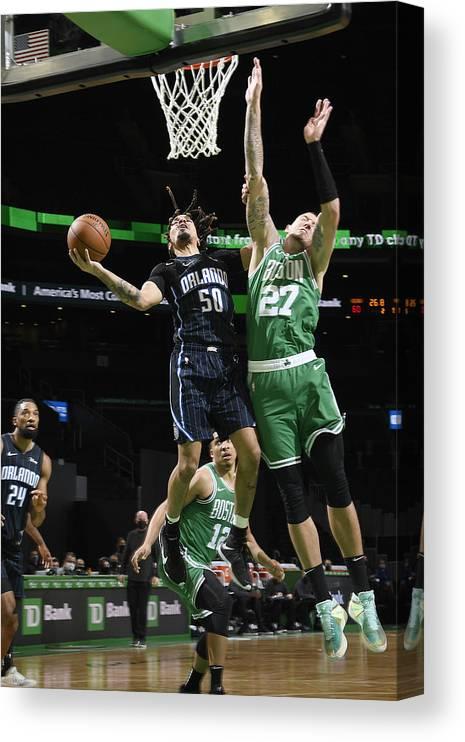 Nba Pro Basketball Canvas Print featuring the photograph Orlando Magic v Boston Celtics by Brian Babineau
