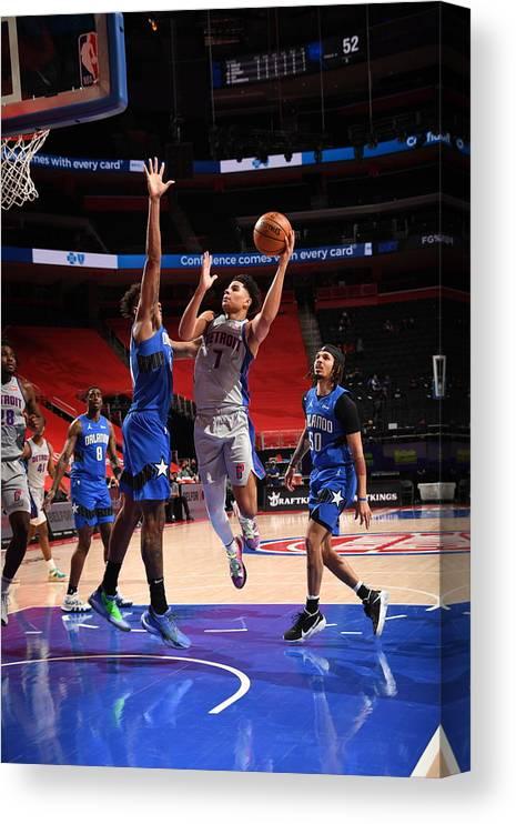 Nba Pro Basketball Canvas Print featuring the photograph Orlando Magic v Detroit Pistons by Chris Schwegler