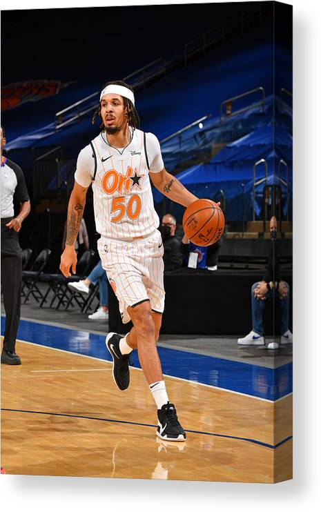 Nba Pro Basketball Canvas Print featuring the photograph Orlando Magic v New York Knicks by Jesse D. Garrabrant