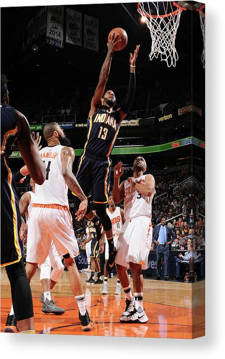 Nba Pro Basketball Canvas Print featuring the photograph Paul George by Barry Gossage