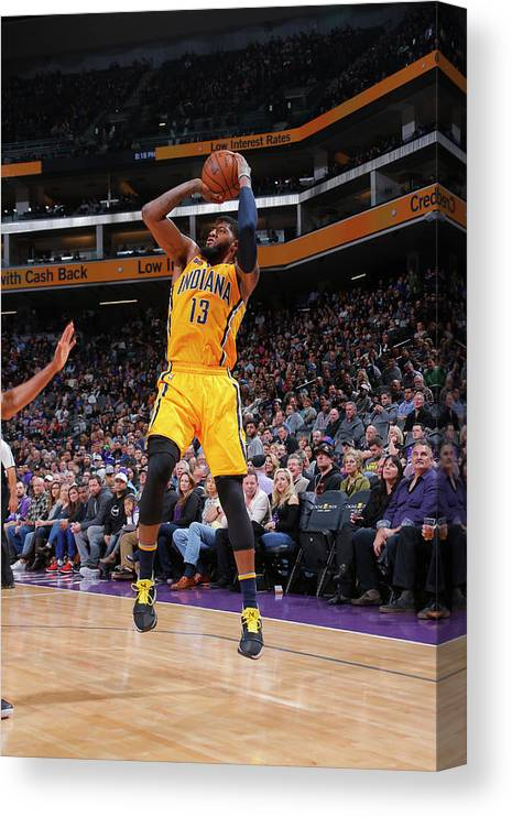 Nba Pro Basketball Canvas Print featuring the photograph Paul George by Rocky Widner