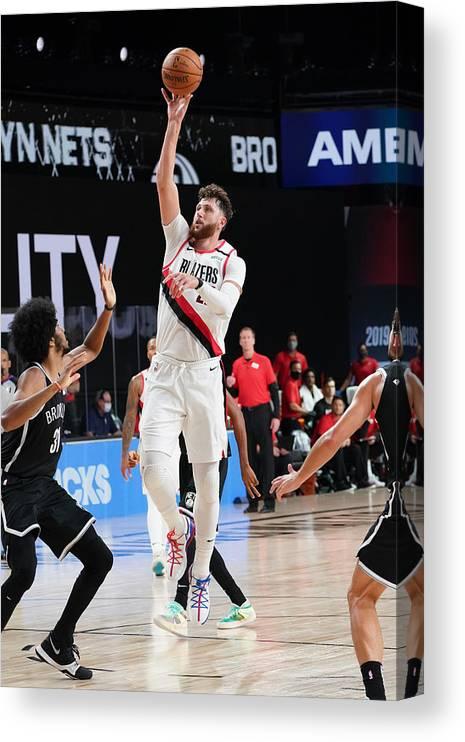 Nba Pro Basketball Canvas Print featuring the photograph Portland Trail Blazers v Brooklyn Nets by Jesse D. Garrabrant