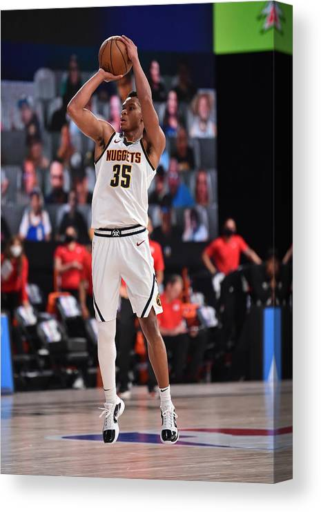 Nba Pro Basketball Canvas Print featuring the photograph Portland Trail Blazers v Denver Nuggets by David Dow
