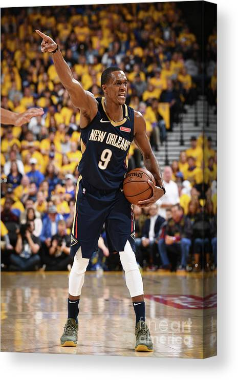 Playoffs Canvas Print featuring the photograph Rajon Rondo by Garrett Ellwood