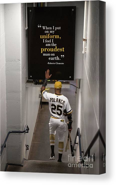 People Canvas Print featuring the photograph Roberto Clemente and Gregory Polanco by Justin Berl