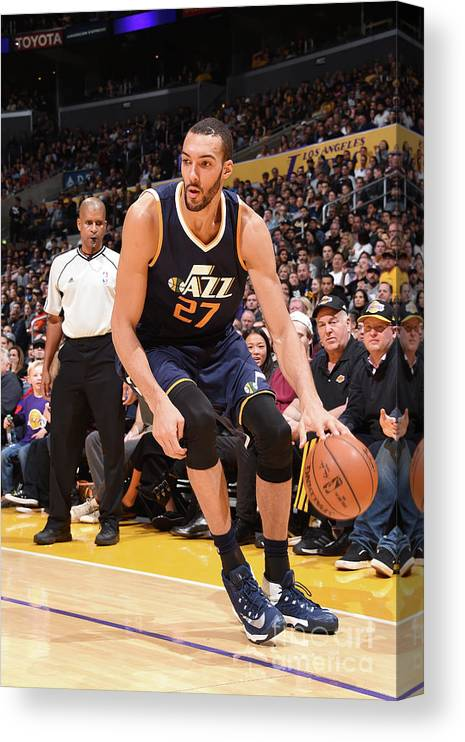Nba Pro Basketball Canvas Print featuring the photograph Rudy Gobert by Andrew D. Bernstein