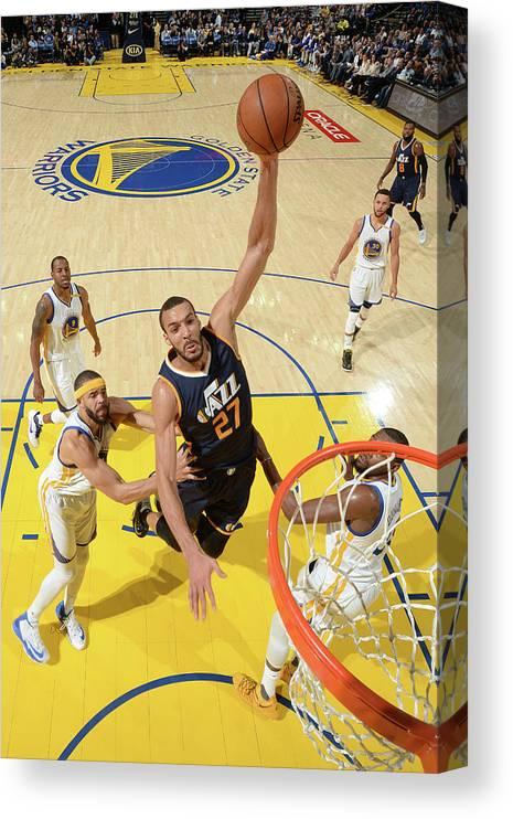 Nba Pro Basketball Canvas Print featuring the photograph Rudy Gobert by Noah Graham