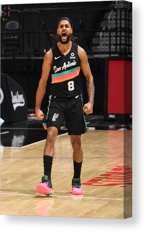 Nba Pro Basketball Canvas Print featuring the photograph San Antonio Spurs v LA Clippers by Adam Pantozzi