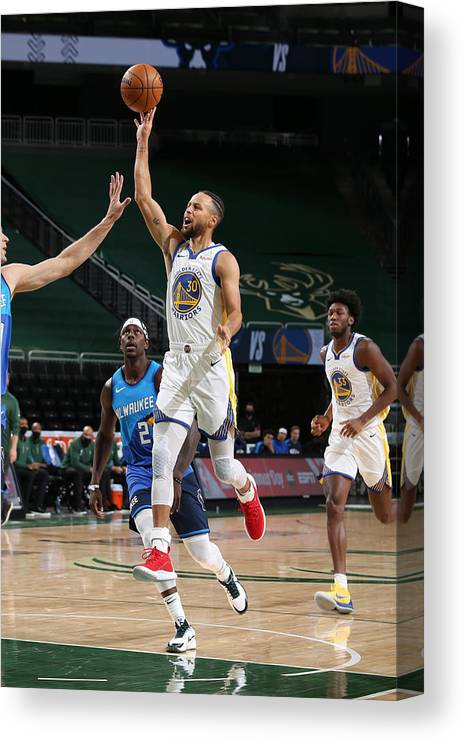 Nba Pro Basketball Canvas Print featuring the photograph Stephen Curry by Gary Dineen