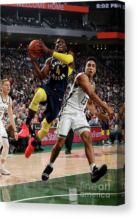 Nba Pro Basketball Canvas Print featuring the photograph Victor Oladipo by Gary Dineen