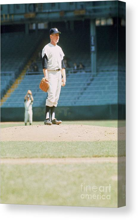 American League Baseball Canvas Print featuring the photograph Whitey Ford by Louis Requena