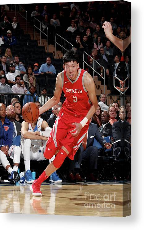Nba Pro Basketball Canvas Print featuring the photograph Zhou Qi by Nathaniel S. Butler