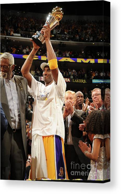 Following Canvas Print featuring the photograph Kobe Bryant by Andrew D. Bernstein