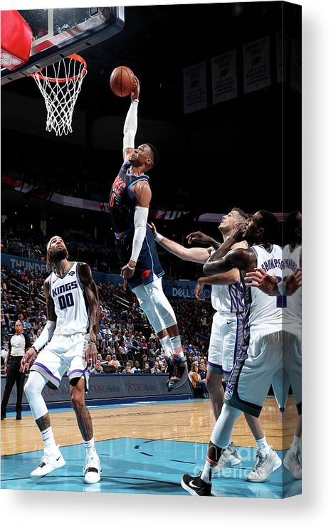Nba Pro Basketball Canvas Print featuring the photograph Russell Westbrook by Joe Murphy