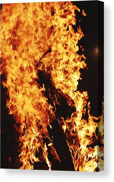 Campfire Canvas Print featuring the photograph Closeup of Fire at time of festival by Ravindra Kumar