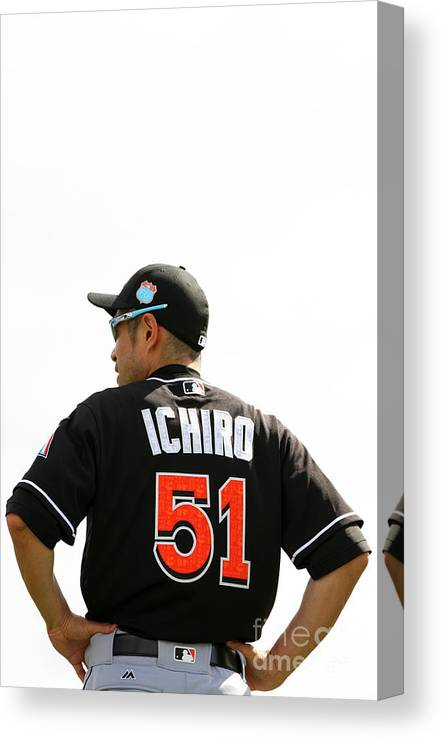 People Canvas Print featuring the photograph Ichiro Suzuki by Rob Foldy