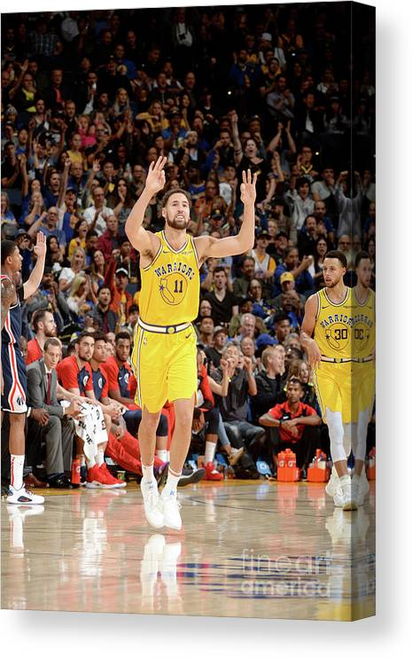 Nba Pro Basketball Canvas Print featuring the photograph Klay Thompson by Noah Graham