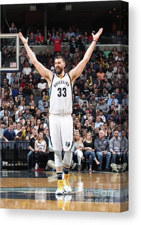 Nba Pro Basketball Canvas Print featuring the photograph Marc Gasol by Joe Murphy